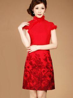 Wool Qipao / Cheongsam / Chinese Wedding / Evening Dress
