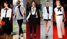 """Las """"camisas de contraste"""" con lazo, que juegan con estos dos colores, combinación estrella de la casa Chanel, son una tendencia ya presente en colecciones pasadas; un must que tampoco puede faltar en el armario."""
