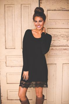 Dottie Couture Boutique - Lace Trim Tunic- Black, $32.00 (http://www.dottiecouture.com/lace-trim-tunic-black/)