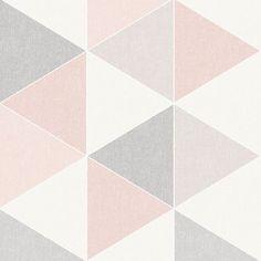 Scandi Geo Triangle Wallpaper - Pink and Grey - Arthouse 908204 Pink Wallpaper Bedroom, Pink And Grey Wallpaper, Pink And Grey Room, Grey Bedroom With Pop Of Color, Pink Grey, Girl Wallpaper, Pink Bedroom Design, Pink Bedroom Decor, Pink Bedroom For Girls