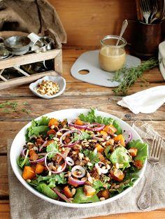 Beluga Lentil and Pumpkin Salad w/ Sweet Mustard Dressing • Green Evi