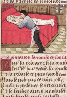 """Bodleian, MS. Douce 195, detail of f. 151r (""""Pygmalion embraces the statue, as it lies half-undressed on the bed""""). Guillaume de Lorris and Jean de Meung, Le roman de la rose. France, end of the 15th century."""