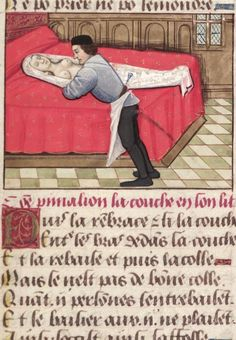 "Bodleian, MS. Douce 195, detail of f. 151r (""Pygmalion embraces the statue, as it lies half-undressed on the bed""). Guillaume de Lorris and Jean de Meung, Le roman de la rose. France, end of the 15th century."