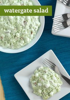 Watergate Salad – Rich with crushed pineapple, JELL-O pudding, marshmallows, and COOL WHIP whipped topping, a sweet chilled Watergate Salad is always the first to go at the buffet table! You'll want to add this recipe to to your party menu!