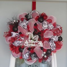 Red, Black, and White Merry Christmas Wreath, Deco Mesh Wreath. $90.00, via Etsy.