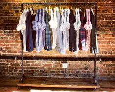 Rustic Industrial Reclaimed Wood Retail  Rolling Garment Rack
