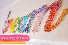 DIY nail and string wall art
