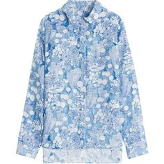 Carven Printed Asymmetric Blouse featuring polyvore, women's fashion, clothing, tops, blouses, blue, slim fit shirts, sheer blue blouse, asymmetrical hem shirt, shirt blouse and asymmetrical shirt