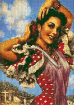 Vintage Mexican Senorita 2 Pinup Cross Stitch pattern PDF - Instant Download! by PenumbraCharts on Etsy