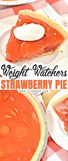 Weight Watchers Strawberry Pie Recipe, Weight Watchers Pie, Weight Watchers Puddings, Jello Pudding Pie, Jello Pie, Ww Desserts, Strawberry Desserts, Dessert Recipes, Sugar Free Recipes
