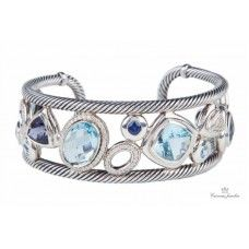 Estate David Yurman Sterling Silver Mosaic Cuff Bracelet
