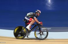 British cyclist Mark Cavendish rides in the Elite Championship Madison Chase with partner Marc Hester of Telegraph Allstars during the Elite Track Cycling Revolution Series at National Cycling Centre on January 2, 2016 in Manchester, England.