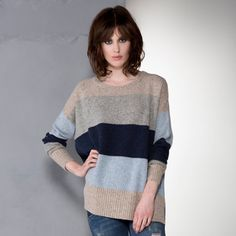 Z&P AW16 Colour Block Jumper in Oat Combo