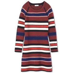 Tory Burch Monterey Dress ($395) ❤ liked on Polyvore featuring dresses, medium navy nova stripe, navy blue striped dress, red dress, sweater dresses, tory burch dresses and red sweater dress