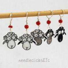 sheep stitch markers whimsical set of 5 by needleclicksEtc on Etsy, $9.00