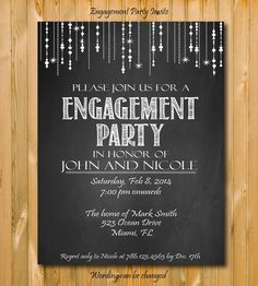 Engagement invitation Engagement Party by chalkboarddesign on Etsy, $14.99