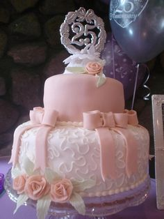 Two tier celebration cake by Paige's Cakes and Desserts