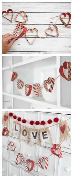 Today I am sharing a very simple but cute Paper Heart Garland that is a fun addition to your Valentine's Day Decor. You could also make one to decorate your little girl's room or to add some fun to a bridal shower or as some wedding decor.