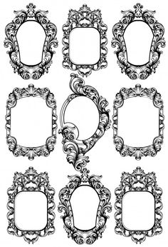 Vintage Frame Tattoo, Vintage Frames, Mirror Tattoos, Leg Tattoos, Picture Frame Tattoos, Alice And Wonderland Tattoos, Ink Link, Framed Tattoo, Baroque Mirror