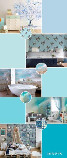 Crystal Blue Self-Adhesive Wall Murals