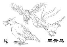 《山海经》描述:三危之山,三青鸟居之。 没有具体描述,三青鸟是西王母的信使,也为西王母找食物什么的。这里为了配合王母掌管瘟疫和刑法把两只鸟换成了代表瘟疫和刑法的鸟,其实这个画的很挫,本来是想让它们和西王母一起的,没打算单独画出来的。