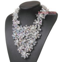 Pretty Multilayer Wired White Ab Color Teardrop Crystal And Round Seashell Pearl Flower Necklace - Bjbead.com