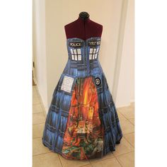 Victorian Style Tardis Police Box Doctor Who Corset Dress Custom Sized... ($988) ❤ liked on Polyvore featuring costumes, victorian halloween costumes and victorian costumes