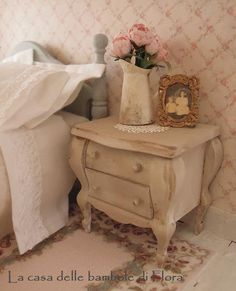 Shabby chic french double bed 1/12 dolls house by FloraDollhouse