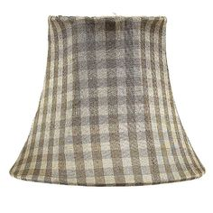 Traditional Shape Chandelier or Sconce Clip-On Silk Shade, Taupe Check