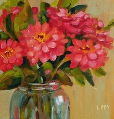"""Daily Paintworks - """"Garden Zinnias"""" - Original Fine Art for Sale - © Libby Anderson"""