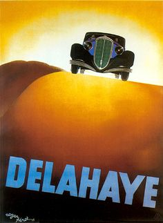 Delahaye reproduction art deco motoring poster advert by Roger Perot
