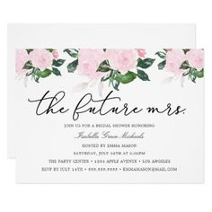 Pink Floral Bridal Shower Invitation - wedding invitations cards custom invitation card design marriage party