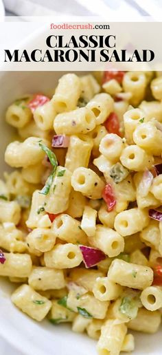 This old-fashioned macaroni salad with crisp vegetables dressed in a creamy but light mayonnaise dressing is just right for any picnic or barbecue. Creamy Macaroni Salad, Classic Macaroni Salad, Best Macaroni Salad, Simple Macaroni Recipe, Easy Pasta Salad Recipe, Easy Salad Recipes, Recipe For Macaroni Salad, Homemade Cookbook, Pasta Dishes