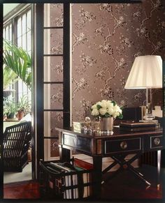Ralph Lauren Ashfield wallpaper in gun metal, i definitely putting this in my bedroom, its truly stunning. Modern Scandinavian Interior, All White Bedroom, Mirrored Side Tables, Interior Decorating, Interior Design, Guest Bedrooms, Home Renovation, Home And Living, Living Room