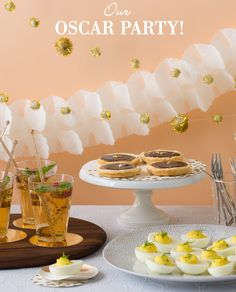 Oscar Party recipes Herbed Deviled Eggs; Raspberry Champagne Cocktail; Caramel Chocolate Tart