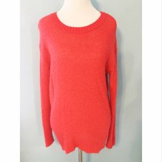 Red/Orange Fuzzy Sweater Light weight but cozy knit sweater. Size small but stretches, could fit a medium to large. Great condition, now flaws! No trades or PayPal Rubbish Sweaters Crew & Scoop Necks
