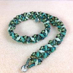 Super Duo Beaded Bracelet, Turquoise Green Beaded Bracelet, Super Duo and Glass Pearl Beaded Bracelet