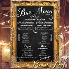 "Wedding Bar Menu Chalkboard Sign • Personalized Wedding Menu • (24"" x 36"") on Etsy, $200.00"