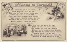 Welcome to Cornwall - rhymed greeting