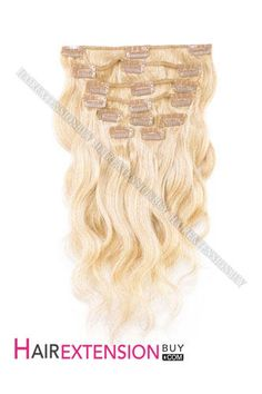 """I want these! Clip In Hair Extensions, 15"""" #22 Light Ash Blonde Wave Full Head Set Clip In Human Hair Extension [CHW0452] - www.hairextensionbuy.com"""
