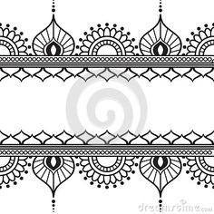 Seamles border pattern elements with flowers and lace lines in Indian mehndi style isolated on white background.