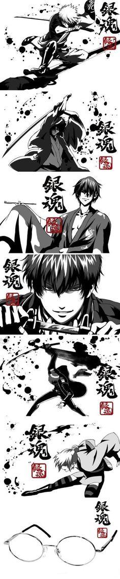 Gintama: Sakata Gintoki, Katsura Kotaro, Takasugi Shinsuke, Hijikata Toushirou, Okita Sougo, Kagura, Shimura Shinpachi (Glasses)