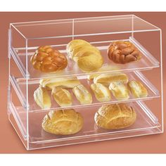 "Cal Mil P254SS 3 Tray Slanted Front Acrylic Bakery Display 26 1/2"" x 22 1/2"" x 23 1/2"""