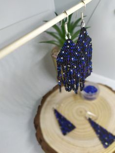 Hand-made, designed and beaded by myself using only the finest Japanese glass delica beads and nylon thread.. with love & care. Fringe Earrings, Beaded Earrings, Crochet Earrings, Native Beadwork, Native American Beadwork, Beautiful Earrings, Hand Stitching, Dangles, Unique Jewelry