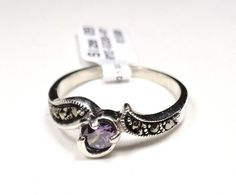 STERLING SILVER ALOHA SOLITARE MARCASITE WITH PURPLE STONE PROMISE RING SIZE 9