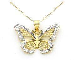 14k Gold Monarch Butterfly Necklace