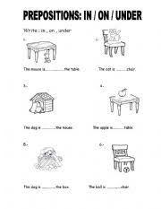 Resultado de imagen para prepositions on-under printables