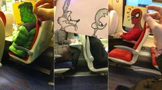 Artist draws silly new heads for his fellow commuters