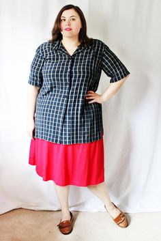 Plus Size - Vintage Navy Plaid Tunic Blouse (Size 18) by TheCurvyElle on Etsy