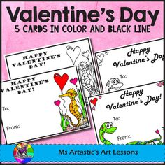 5 Valentine's Day colored or coloring Cards!  5 of my hand drawn, cartoon coloring cards or pre-colored versions just in time for Valentine's Day! Print, enjoy and check out my other listings such as my Valentine's Day Coloring Sheets!About the Valentine's Day Cards:These intricate and detailed coloring and pre-colored Valentines Day Cards are great for providing a peaceful, quiet activity for your students.